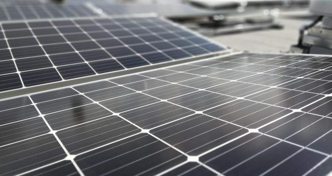 Solar panels on the roof of the Stuart Center, Washington DC.