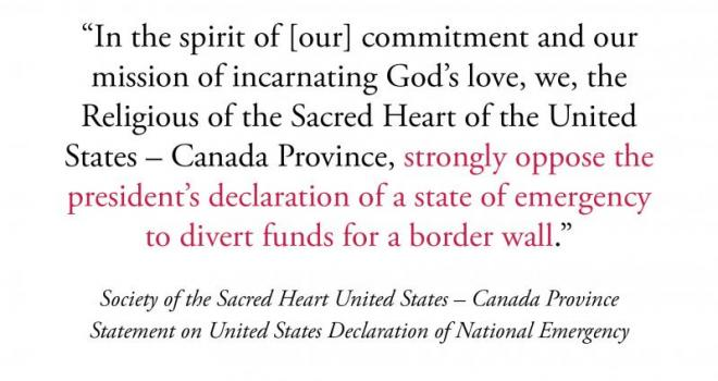Society of the Sacred Heart United States-Canada Province Statement on United States Declaration of National Emergency