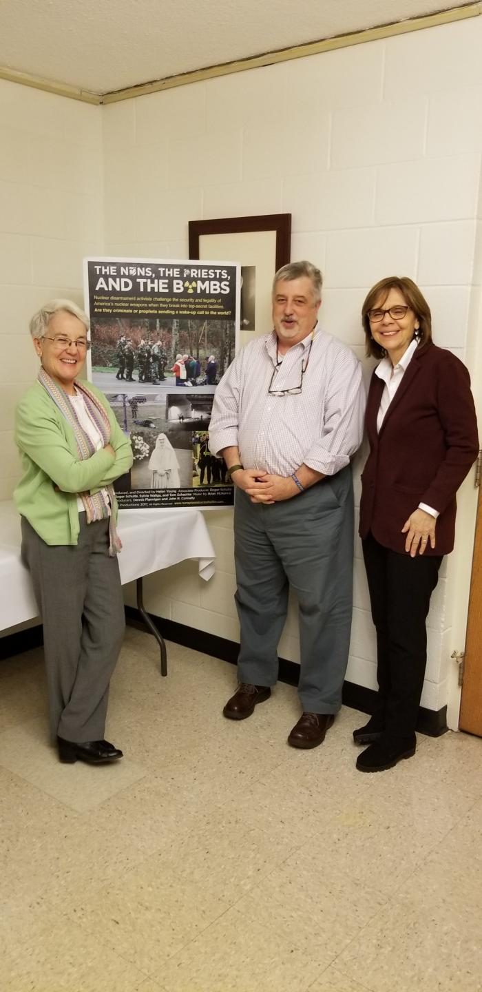 "Diane Roche, rscj, Bill Hobbs, and Helen Young at the screening of ""The Priests, the Nuns and the Bomb"""