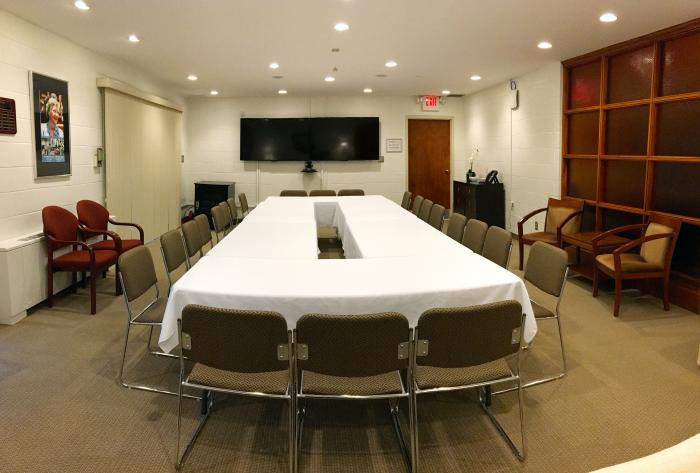 Larger table and video conferencing screen