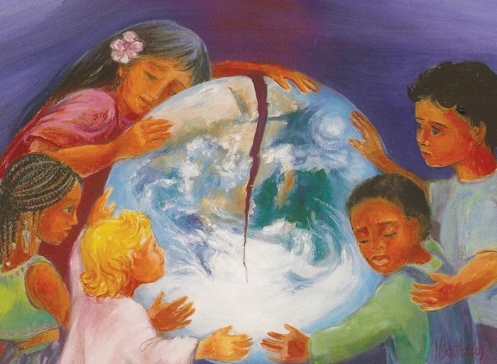 Laudato Si postcard front, by Mary Southard, CSJ.