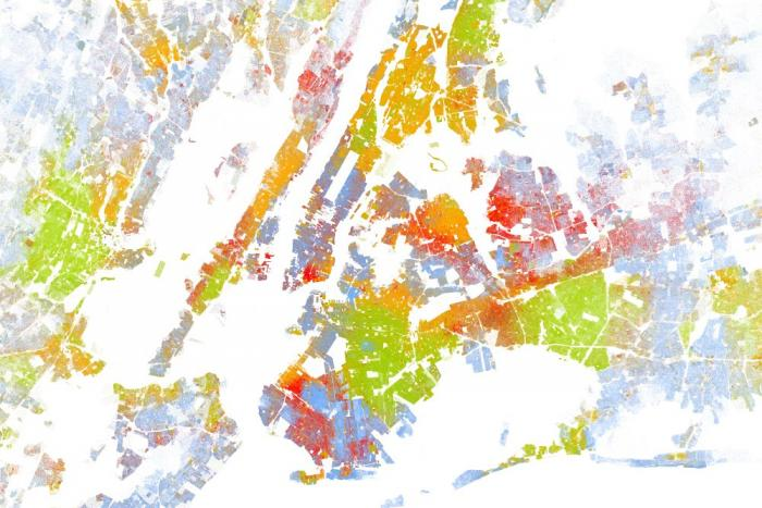White: blue dots; African American: green dots; Asian: red; Latino: orange; all others: brown